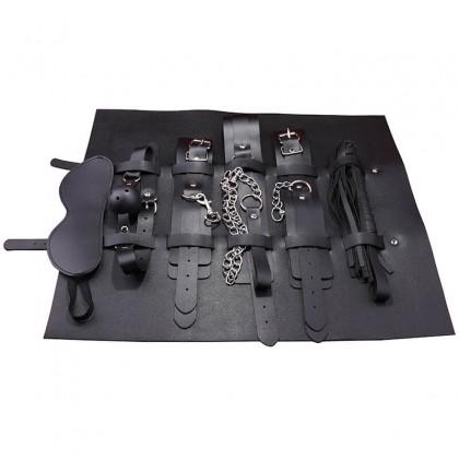 MizzZee Bondage Kit 7 Pieces BDSM With Bag Black Erotic Accessories Adults SM Bondages Set Restraints SM Adult Games Toys For Couples Toys Alat Seks SM