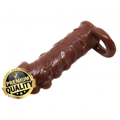 BAILE - Brave Man Penis Extended Dotted Sleeve With Ball Strap L:14cm - D:4cm Male Delay Soft Silicone Penis Sleeve Condom Enlargement Extender Reusable Condoms Extension Sleeve Adult Toy For Men Alat Seks Lelaki (Semburan Tahan Lama)