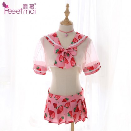 FEE ET MOI Innocent Sweet Student Costume Strawberry Style Sexy Lingerie Cute Cosplay Costumes Charming Nightdress Babydoll Nightwear Sexy Sleepwear Free Size For Women Transparent Dress Elasticity