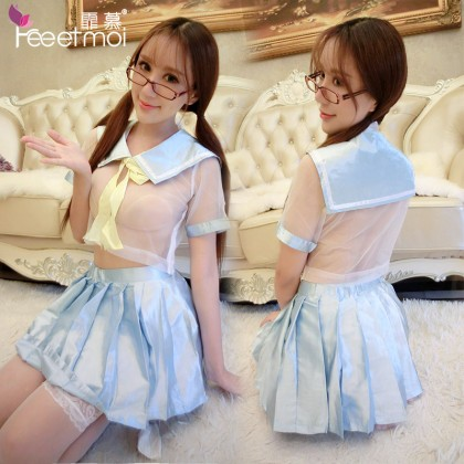 FEE ET MOI Innocent Sweet Student Costume Blue Sexy Lingerie Cute Cosplay Costumes Charming Nightdress Babydoll Nightwear Sexy Sleepwear Free Size For Women Transparent Dress Elasticity