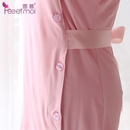 FEE ET MOI Sexy Nurses Uniform Pink Sexy Lingerie Cute Cosplay Costumes Charming Nightdress Babydoll Nightwear Sexy Sleepwear Free Size For Women Transparent Dress Elasticity