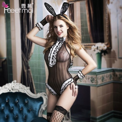 FEE ET MOI Cosplay Cute Animals Girl Costume Black Sexy Lingerie Cute Cosplay Costumes Charming Nightdress Babydoll Nightwear Sexy Sleepwear Free Size For Women Transparent Dress Elasticity