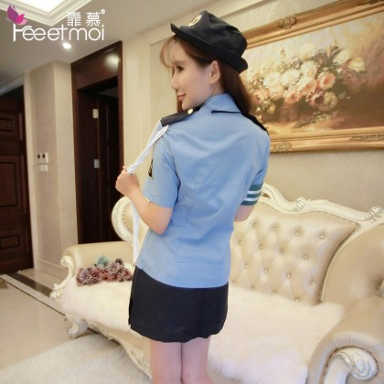 FEE ET MOI Cosplay Polices Woman Uniform Blue Sexy Lingerie Cute Cosplay Costumes Charming Nightdress Babydoll Nightwear Sexy Sleepwear Free Size For Women Transparent Dress Elasticity