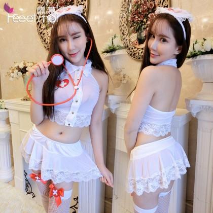 FEE ET MOI Sexy Nurses Uniform White Sexy Lingerie Cute Cosplay Costumes Charming Nightdress Babydoll Nightwear Sexy Sleepwear Free Size For Women Transparent Dress Elasticity