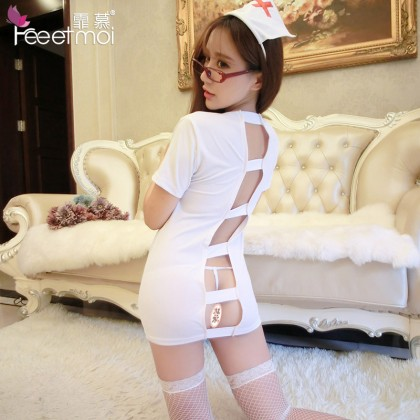 FEE ET MOI Sexy Nurses Uniform White Sexy Lingerie Cute Cosplay Costumes Charming Nightdress Babydoll Nightwear Sexy Sleepwear Free Size For Women Transparent Dress Elasticity