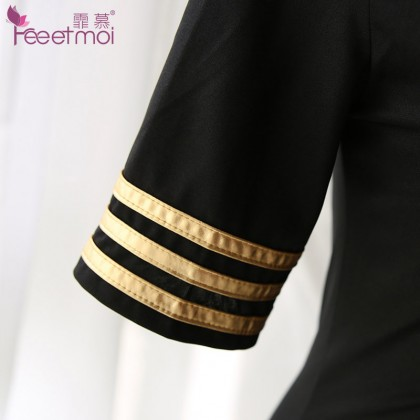 FEE ET MOI Stewardess Uniforms Black Sexy Lingerie Cute Cosplay Costumes Charming Nightdress Babydoll Nightwear Sexy Sleepwear Free Size For Women Transparent Dress Elasticity