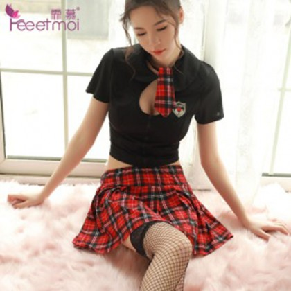 FEE ET MOI Innocent Sweet Student Costume Black Sexy Lingerie Cute Cosplay Costumes Charming Nightdress Babydoll Nightwear Sexy Sleepwear Free Size For Women Transparent Dress Elasticity