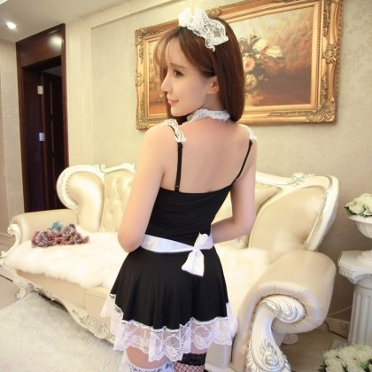 FEE ET MOI Sexy Lace Maid Lingerie Black Sexy Lingerie Cute Cosplay Costumes Charming Nightdress Babydoll Nightwear Sexy Sleepwear Free Size For Women Transparent Dress Elasticity