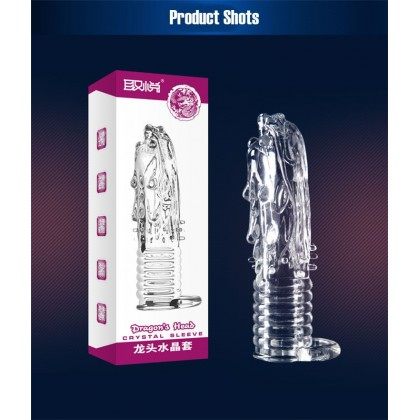 PLEASE ME Dragon Crystal Penis Sleeve Dragon Head Model Male Delay Soft Silicone Penis Sleeve Condom Enlargement Extender Reusable Condoms Extension Sleeve Adult Toy For Men Alat Seks Lelaki (Semburan Tahan Lama)