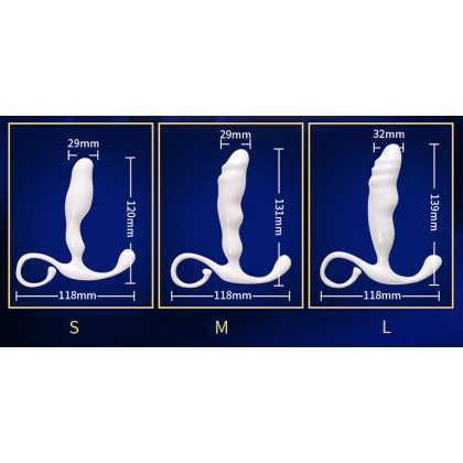PLEASE ME Rhinios Prostate Massager M Size Male Prostate Massage Scrotum Orgasm Vibrator A-nal Toy Strapon Stimulate A-nal Dildo Plug A-nal Beads Adult Toy For Men Alat Seks Lelaki